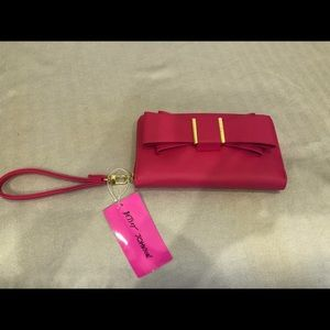 NWT Betsey Johnson pink bow wristlet/wallet